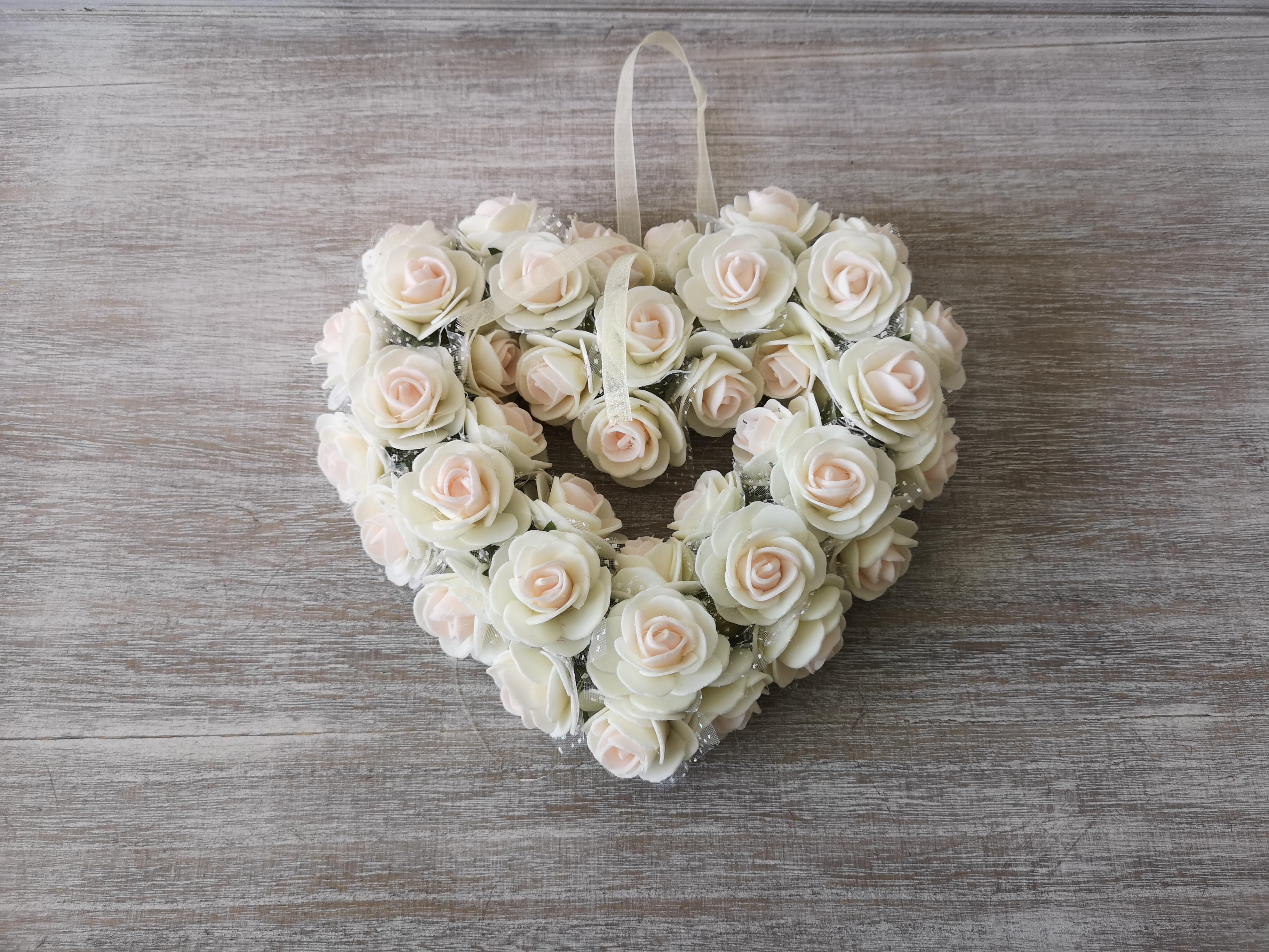 Medium Ivory Rose Heart Wreath Medium-Ivory-Rose-Heart-Wreath