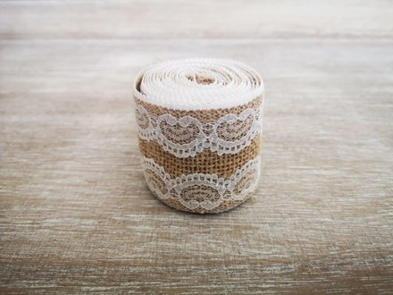 Burlap Ribbon with Wide Lace Edge - 2m 2mburlapwidelace