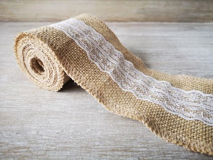 Hessian and Lace Ribbon 10cm x 2m hessianlace10x2