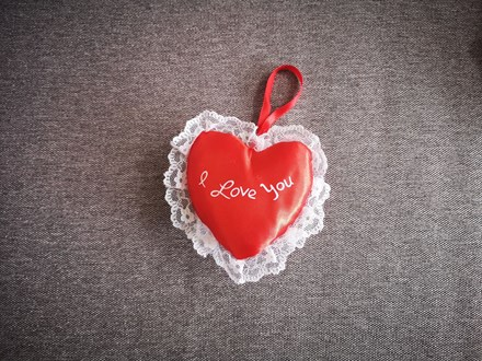 """I Love You'' Heart 13cm 9.5redsatinheart"