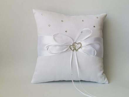 Rhinestone Heart Ring Cushion White 20cm x 20cm Rhinestone-Heart-Ring-Cushion-White-20cm-x-20cm