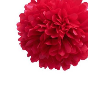 Red Tissue Pom Pom - Medium Red-Tissue-Pom-Pom---Medium