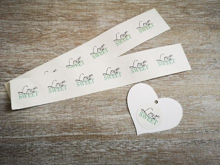 Green 'Love is Sweet' Stickers 30pcs green-love-is-sweet-30