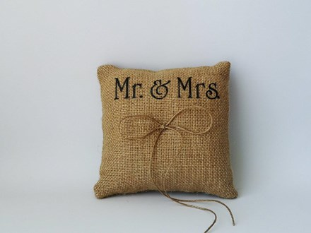 Mr and Mrs Burlap Ring Cushion 15cm x 15cm Mr-and-Mrs-Burlap-Ring-Cushion-15cm-x-15cm