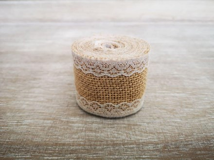 Burlap Ribbon with Narrow Lace - 2m 2mburlapnarrowlace