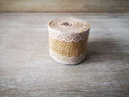 Burlap Ribbon with Narrow Lace - 2m 2mburlapnarrowlace