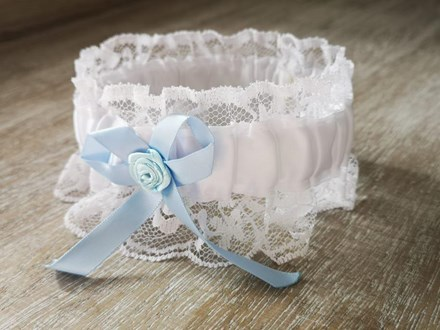 White & Blue Satin and Lace Garter Whitebluegarterspecial