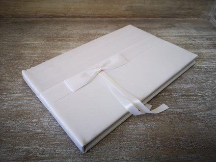 White Guest Book With Ribbon Whiteribbonguestbook