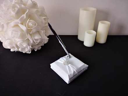 White Wedding Pen Set with Buckle White-Wedding-Pen-Set-with-Buckle