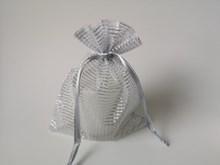 Silver Striped Organza Bag 10p M1534