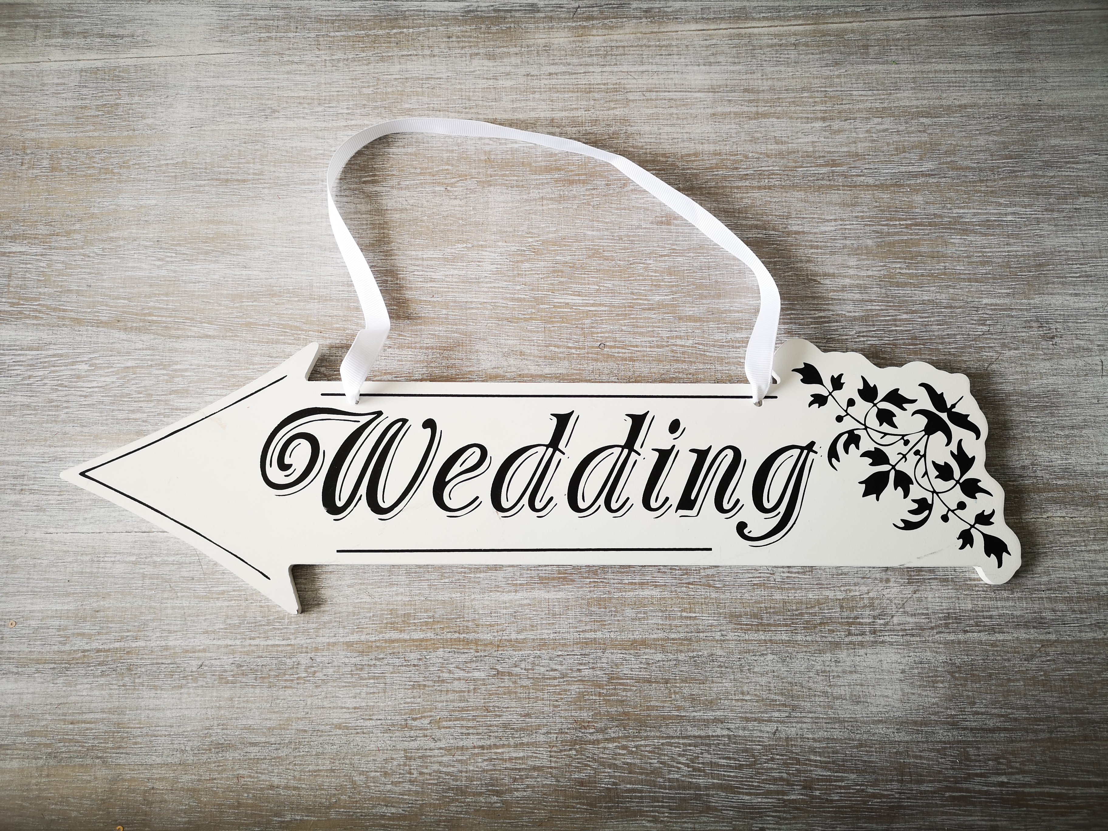 White Wedding Direction Sign Left White-Wedding-Direction-Sign-left