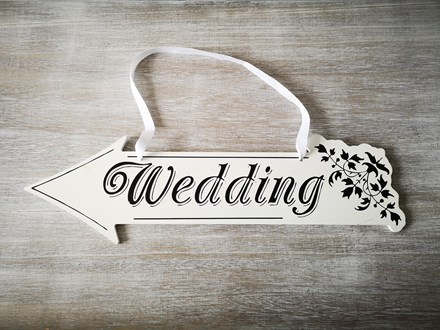 White Wedding Direction Sign Left White-Wedding-Direction-Sign-left
