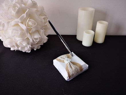 White Wedding Pen Set with Burlap White-Wedding-Pen-Set-with-Burlap