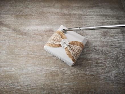 White Wedding Pen Set with Burlap White-Wedding-Pen-Set-with-Burlap