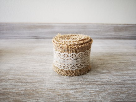 Burlap Ribbon with Ivory Lace - 2m Burlap-Ribbon-with-Ivory-Lace---2m