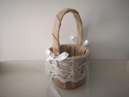 Burlap and Lace Flower Girl Basket BLB22