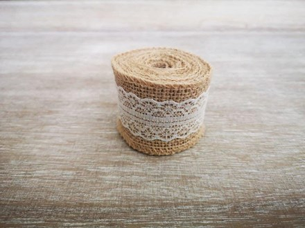 Burlap Ribbon with White Lace - 2m Burlap-Ribbon-with-White-Lace---2m