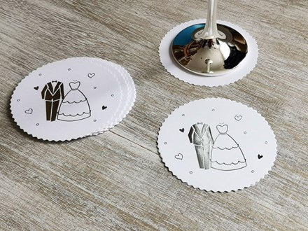Paper Coasters - Bride and Groom CoastersB&G
