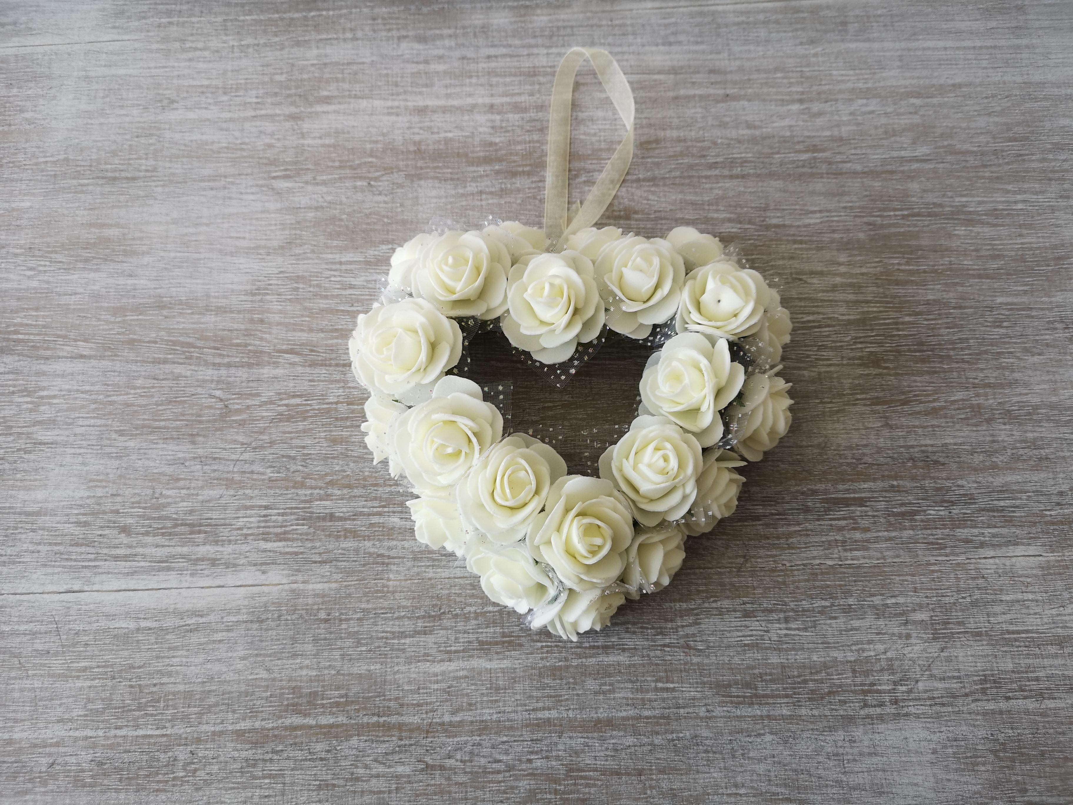 Small White Rose Heart Wreath Small White heart wreath