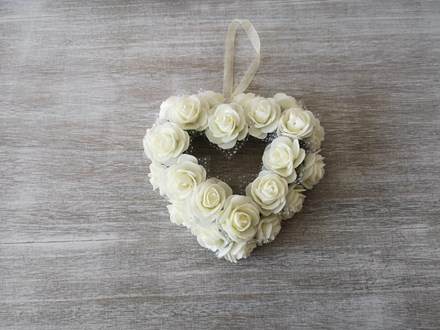 Small White Rose Heart Wreath Small White heart wreath