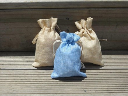 5pcs Blue Burlap Favour Bag 5pcs-Blue-Burlap-Favour-Bag