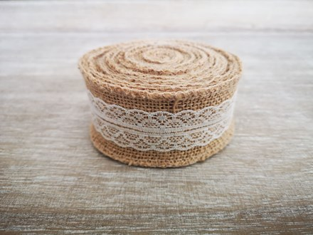 Burlap Ribbon with White Lace - 5m Burlaplace5m