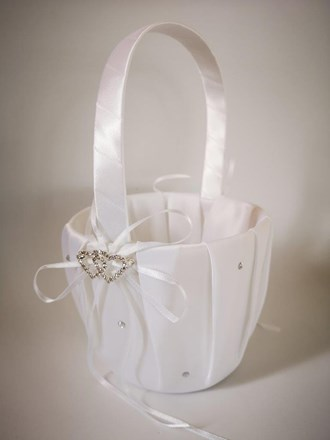 White Rhinestone Heart Flower Girl Basket White-Rhinestone-Heart-Flower-Girl-Basket