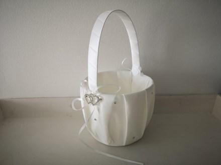 White Rhinestone Heart Flower Girl Basket White-Rhinestone-Heart-Flower-Girl-Basket