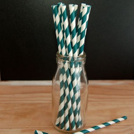 Blue/Green Stripe Paper Straws Blue/Green-Stripe-Paper-Straws-