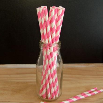 Hot Pink Stripe Paper Straws Hot-Pink-Stripe-Paper-Straws