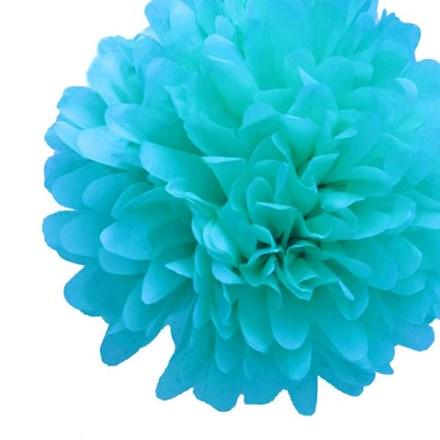 Aqua Blue Tissue Pom Pom - Large Aqua-Blue-Tissue-Pom-Pom---Large