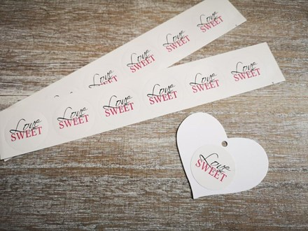 Pink 'Love is Sweet' Stickers 30pcs Pink-love-is-sweet-30