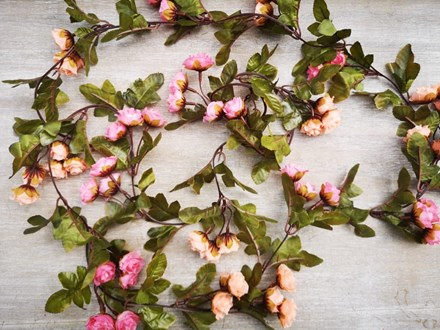 Pink and Peach Rose Garlands 2.2m 60pinkpeachgarland