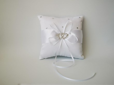 Rhinestone Heart Ring Cushion White 15cm x 15cm Rhinestone-Heart-Ring-Cushion-White-15cm-x-15cm