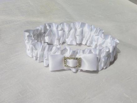 Garter - White Silk with Diamante Buckle Garter---White-Silk-with-Diamante-Buckle