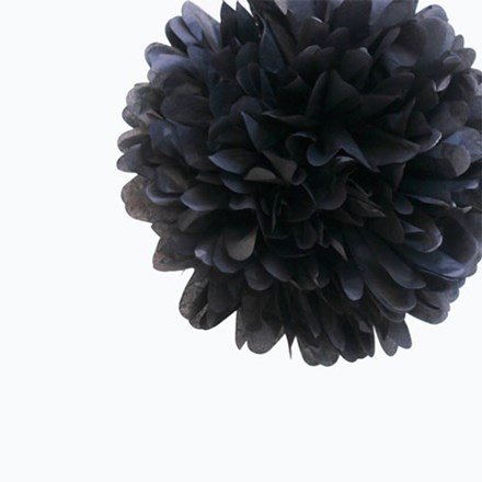 Black Tissue Pom Pom - Medium Black-Tissue-Pom-Pom---Medium