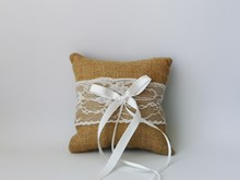 Lace and Burlap Ring Cushion 15cm x 15cm Lace-and-Burlap-Ring-Cushion-15cm-x-15cm