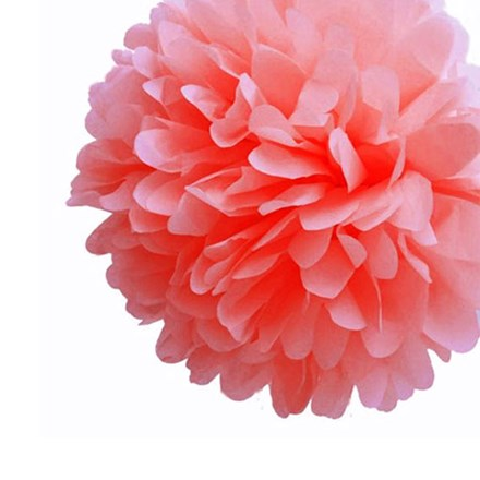 Coral Tissue Pom Pom - Medium Coral-Tissue-Pom-Pom---Medium