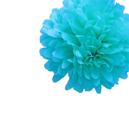 Aqua Blue Tissue Pom Pom - Small Aqua-Blue-Tissue-Pom-Pom---Small