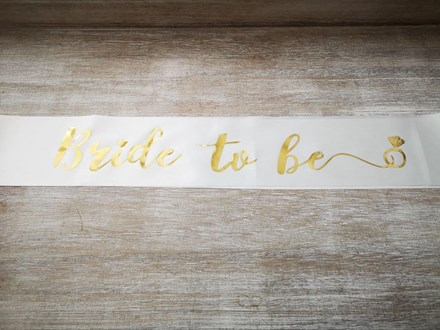 White Bride to be Sash Whitesash
