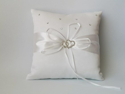 Rhinestone Heart Ring Cushion Ivory 20cm x 20cm Rhinestone-Heart-Ring-Cushion-Ivory-20cm-x-20cm