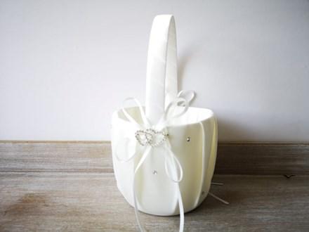 Ivory Rhinestone Heart Flower Girl Basket ivorybasket