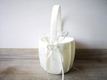 Ivory Rhinestone Heart Flower Girl Basket